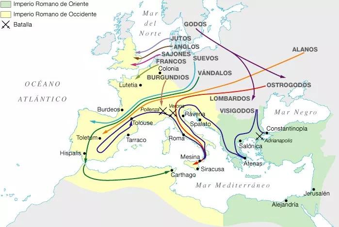 invasiones_bárbaras, invasiones_godas, grandes_invasiones, decadencia_imperio_romano